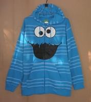 free shipping Big sesame street , lovers design fleece with a hood cardigan plus size