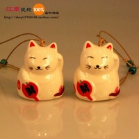 Free Shipping Chinese Style Ceramic Lovely Lucky Cat Wind Chimes Jingdezhen Porcelain Gifts Handmade Crafts Decoration WDC11