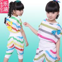 Children's clothing female child summer 2013 child stripe chiffon set shorts child women's casual sports set