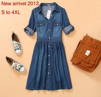 Free Shipping,New Arrivel 2013,Denim Knee-length Plus Size  Novelty Vintage Long Sleeve Dress