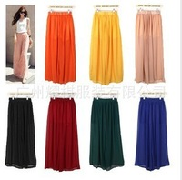 Free shipping  chiffon wide leg pants trousers big code chiffon pants collapse