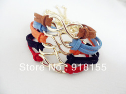 5pcs Handmade bracelet Wholesale 2013 Chain vintage Bracelet Charm leather Bracele Fashion Jewelry anchor infinite multicolor(China (Mainland))
