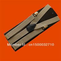 Unisex Clip-on Braces Elastic Y-back Suspenders Beige
