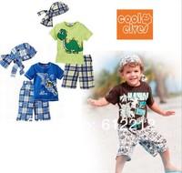 Wholesale summer models beach boy child care (short-sleeved beach + pant + headscarf) three-piece