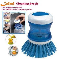(Mini order:10usd) 8.5cm automatic liquid adding /2013 Creative kitchen cleaning brush-JJ0005(China (Mainland))