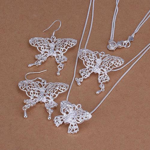 Wholesale 925 silver jewelry set fashion jewlery set Hollow Double Butterfly Earrings Necklace Jewelry Set