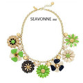 Freeshopping 2013 Fashion luxury exaggerated green spring Flower Women Choker resin necklace dropshipping