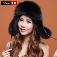 2013 Ladies' Fashion Real Fox Fur Bomber Hats Women Charm Warm Caps Free Shipping
