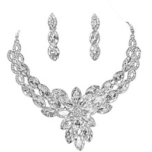 Qi n226 bride wedding accessories peacock style crystal necklace earrings marriage accessories set
