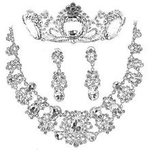 T088 bride accessories set sparkling diamond hair accessory necklace marriage accessories piece set