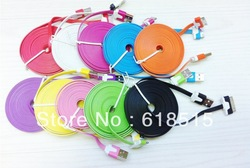 20pcs/lot 3M 10FT Flat Noodle USB Data cable Colorful for iphone 4 4S(China (Mainland))