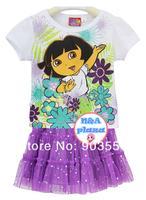 Free shipping 4PCS/lot Dora the Explorer Girl Clothing summer Suit Set Short Sleeve White T-SHIRT + Purple skirt with tag