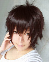 Lowest price Black Brown short shaggy layered synthetic cosplay anime wig hair.Free shipping