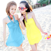 Free Shipping Swimwear one-piece dress swimwear hot spring female swimwear women's clothing swimming suit for women