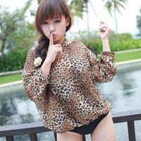 2012 spa haixiang fashion leopard print swimwear hooded shirt one piece trigonometric type swimsuit 1117