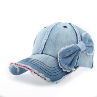 Summer denim bow women's sunbonnet sun hat cap baseball cap m131