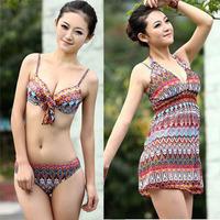Free Shipping New arrival 2013 small push up bikini belt piece set female beach swimwear beach cover up