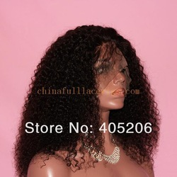 100% top selling remy human hair silk top full lace wigs afro curl russian lace wig for black women in store(China (Mainland))