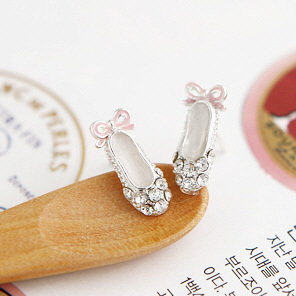 B037 Free Shipping! (Min Order $12,can mix) Fashion Jewelry Women Alloy Crystal Ballet Shoes Stud Earrings(China (Mainland))