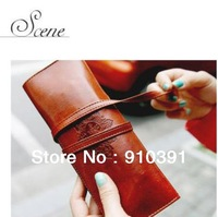 Free shipping twilight concise Synthetic leather pen bag as retro cosmetic bag protable stationery pouch for lady and student.
