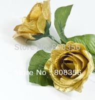 """100pcs 20cm/7.87"""" Golden Colour Gold Tone Flower Artificial Simulation Silk Open Rose Camellia Wedding Floral Decorations"""
