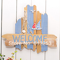 Decorative Hang Board / Coloured Drawing Wall Decoration Plaques / Ocean Style Welcome Board  ID:A0109079
