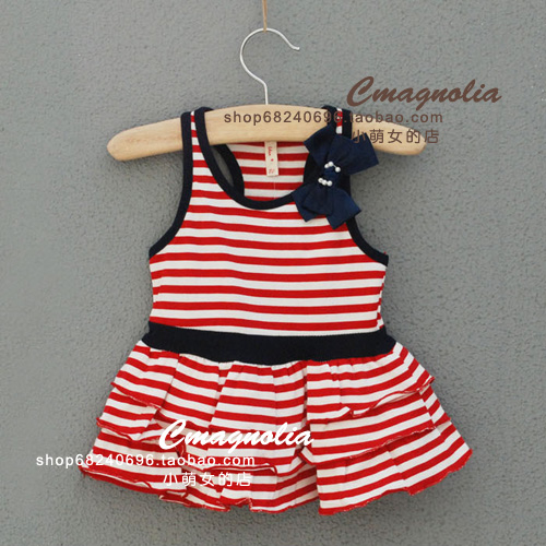 Idea 313 newborn red stripe tank dress cake one-piece dress(China (Mainland))