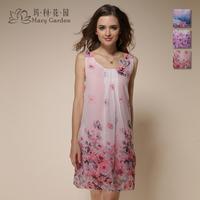 Sexy women's solid color spaghetti strap nightgown faux silk chiffon silk nightgown sleepwear female summer 5sf3111 lounge