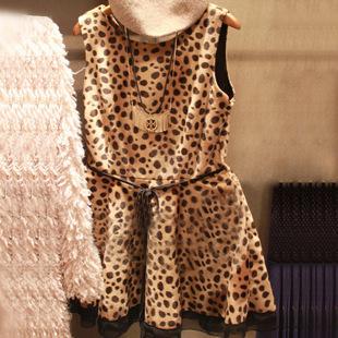 Autumn women's sexy basic tank dress leopard print sleeveless one-piece dress new arrival