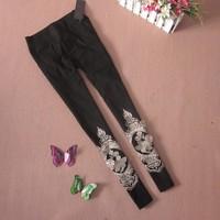 Winter stretch cotton slim plus velvet legging the leg applique embroidery skinny pants