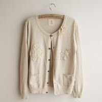 Gentlewomen casual all-match sweet cardigan sweater lace flower thin sweater outerwear women's