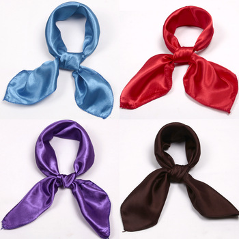 Wholesale Lot 12 Satin Silk Soft Hostess Small Hair Polyester Square Scarf  Mix Pure Solid Color Headband Handbag Cap Decor 52cm