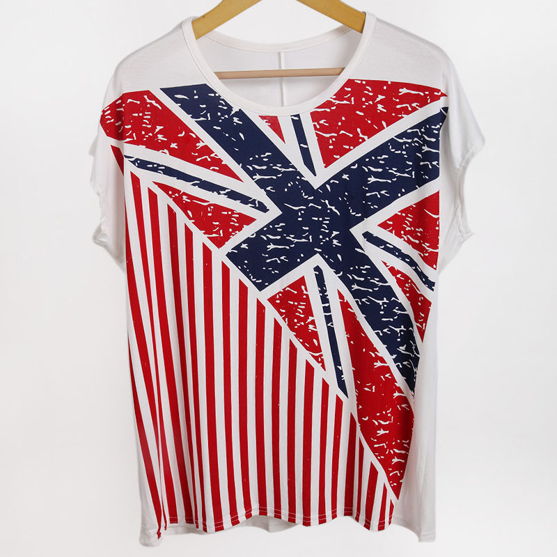 2013 spring fashion normic women's loose comfortable T-shirt the trend of round neck shirt flag boxing