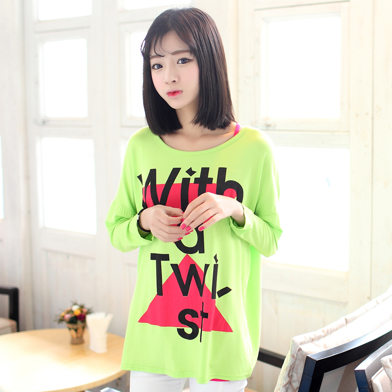 2013 spring new arrival letter print women's comfortable loose long-sleeve T-shirt in love