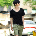 Summer male t shirt large-neck brief male t-shirt k362