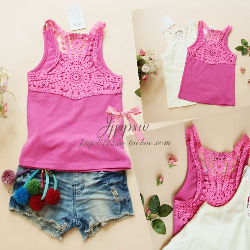 2012 summer children's clothing delicate cutout crochet female child all-match sleeveless t-shirt vest(China (Mainland))