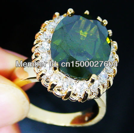 New Wholesale price retail Noblest Peridot Ring in 14K Yellow Gilding Size 8 with a box free gift Free Shipping(China (Mainland))