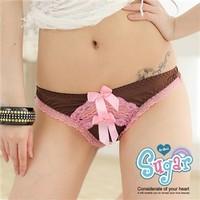 free shipping full$10 Lace bow trigonometric panty panties sexy thong chromophous trunk