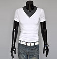 Men's clothing male t shirt slim t-shirt short-sleeve v-neck T-shirt k211
