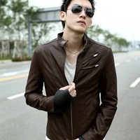 Casual leather clothing men's clothing outerwear slim leather clothing male leather clothing
