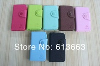 FASHION Solid color Luxury leather case for iphone 4/4s Flip New Arrival,50pcs/lot Free shipping