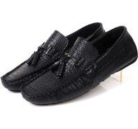 free shipping 2013 super-soft embossed shoe uppers gommini cowhide tassel casual loafers casual shoes foot wrapping b23 black