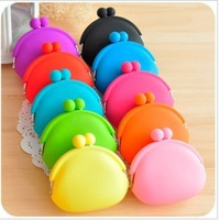 Candy color jelly coin purse clip silica gel semicircle change purse key case Free shipping