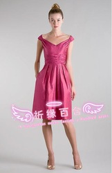 2013 card simple elegant dress birthday dress Pink design short formal dress(China (Mainland))