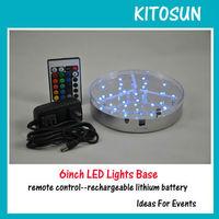 "20units/lot LED CENTREPIECE Silver BASE LIGHT 6""- RGB Color Changing"