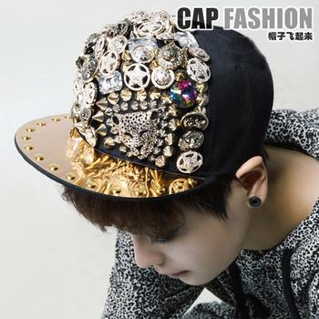 Punk rivet decoration buckle hiphop board cap hip-hop cap baseball cap flat brim hat cap