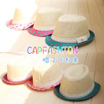 Summer child strawhat polka dot lace fedoras baby hat sun-shading jazz hat baby sun hat