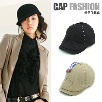 12 spring handsome brief rivet knight cap equestrian cap solid color beret