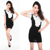 2013 sexy dress slim hip slim one-piece dress tight-fitting slim hip chiffon laciness