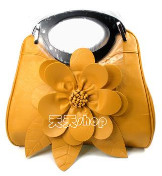 Flower decoration fashion knitted bag portable cross-body bag big women's handbag